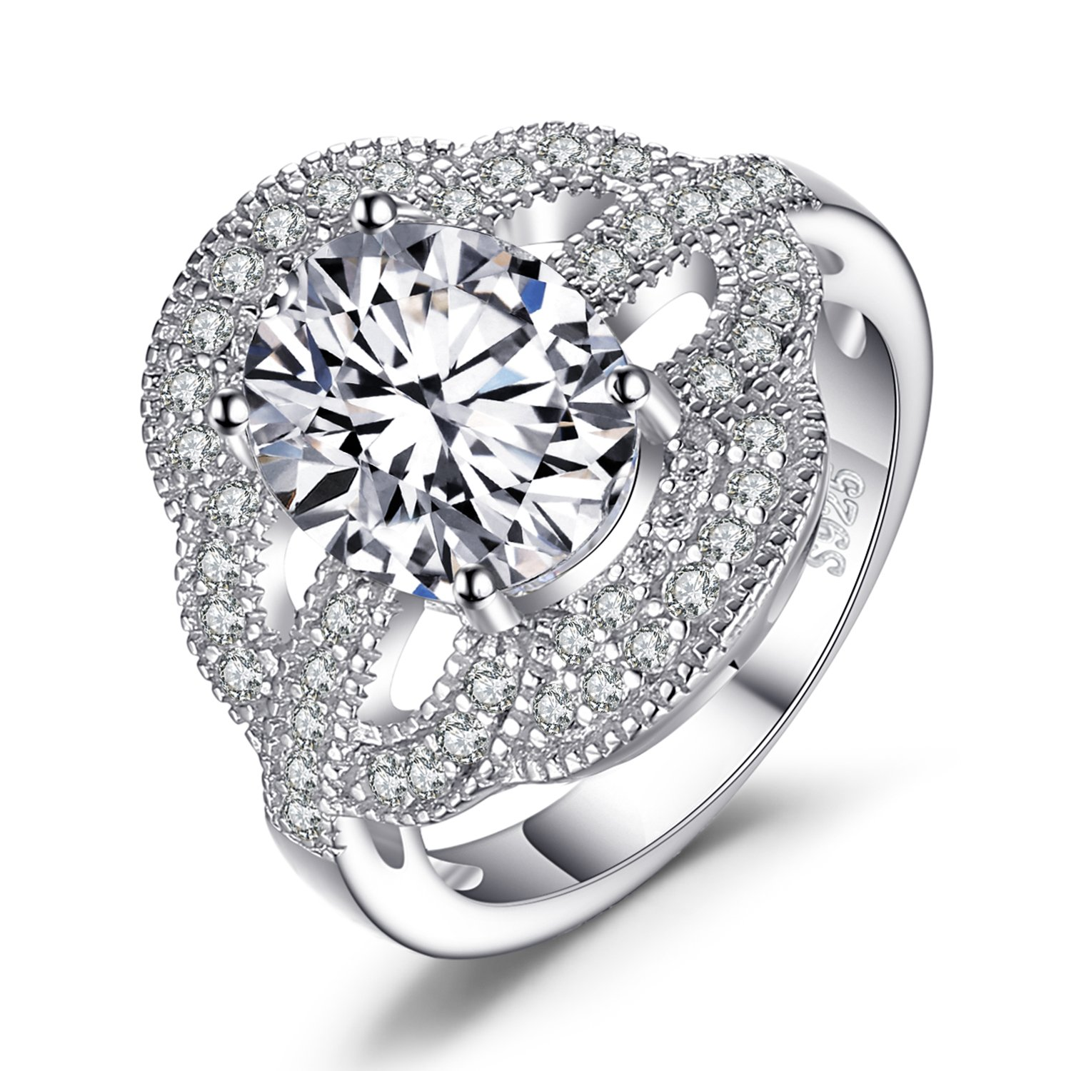 JewelryPalace Luxurious 3.8ct Cubic Zirconiae Engagement Ring 925 Sterling Silver Size 5