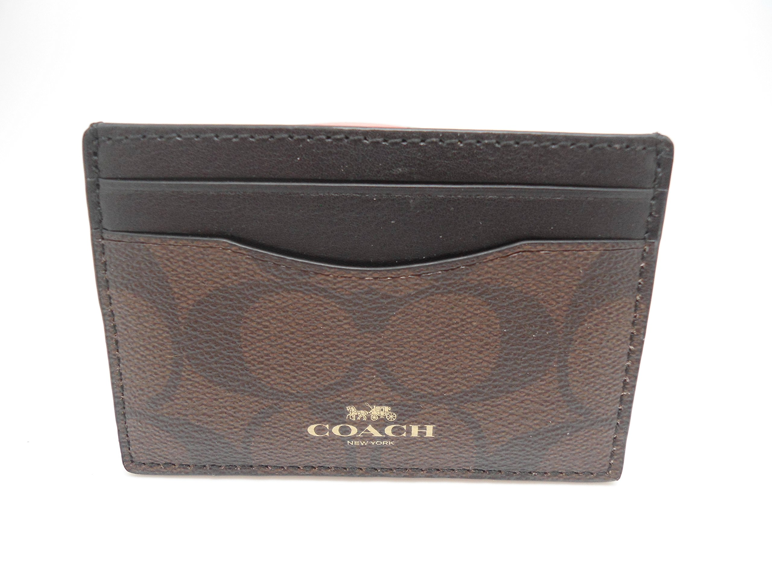 Coach Signature PVC Card Case Brown Black F63279IMAA8, Medium by Coach