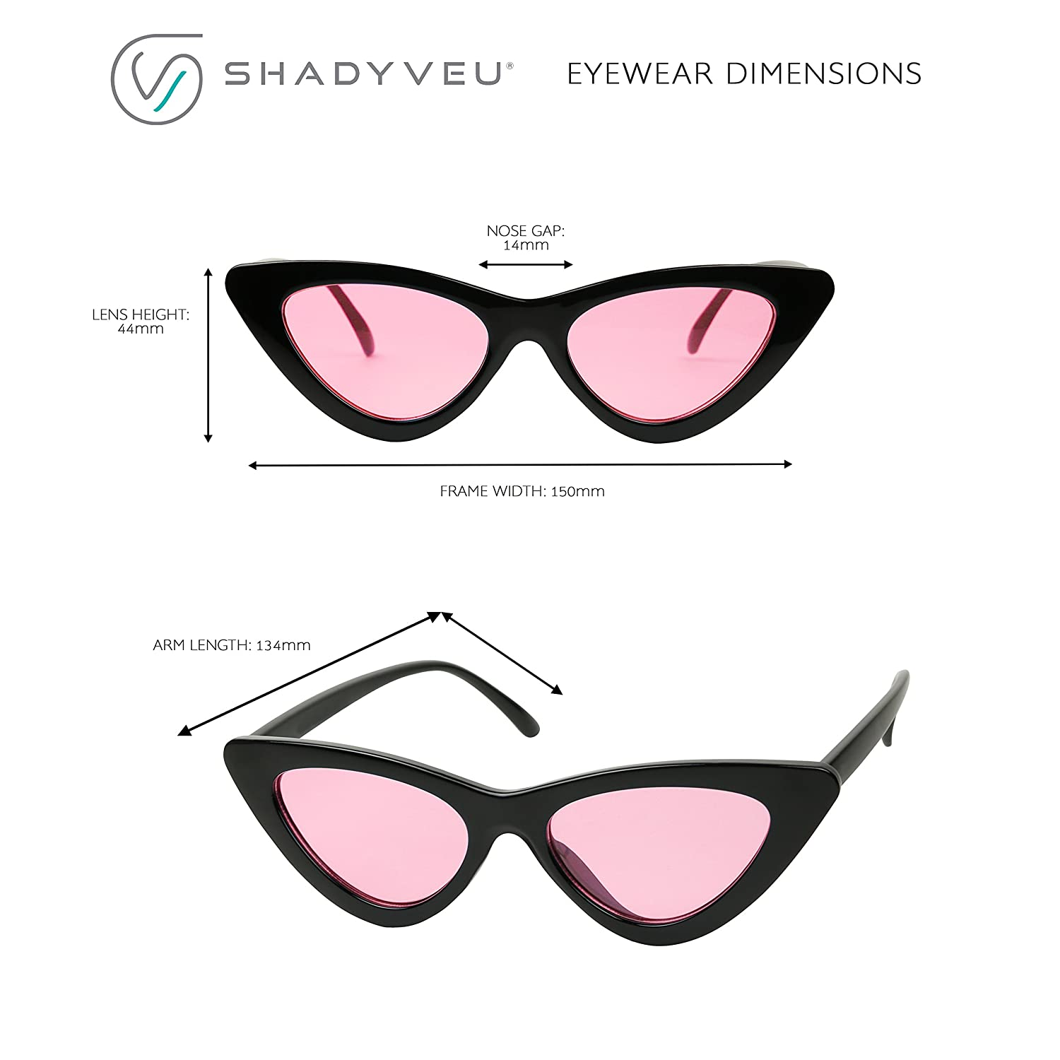 b8cfcabe66856 Amazon.com  ShadyVEU - Women s Exaggerated Slim Clear Frame Color Tinted  Lens Cat Eye Sunglasses (Black Blue