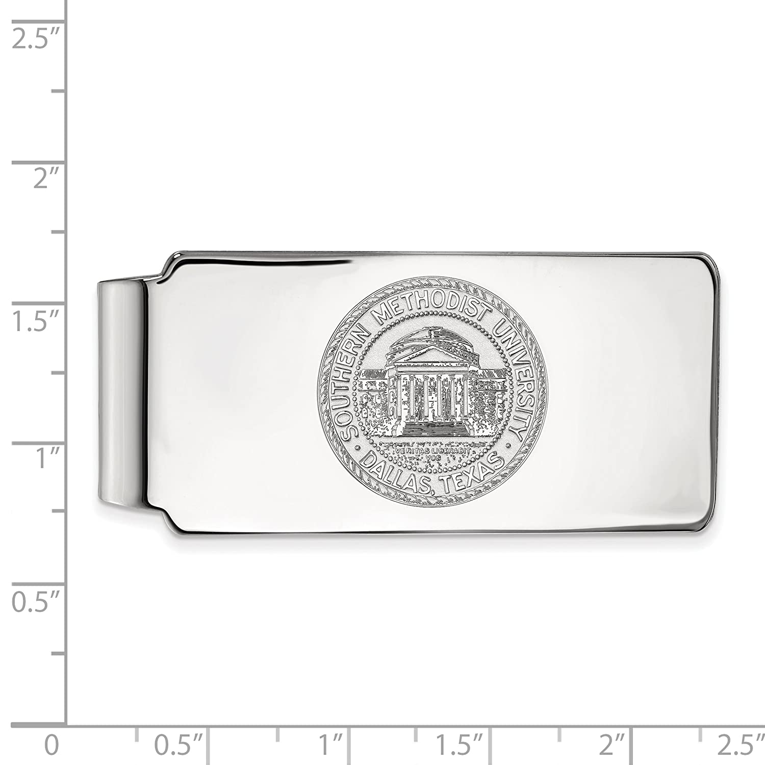 Money Clip Crest SMU 10k White Gold LogoArt Official Licensed Collegiate Southern Methodist University