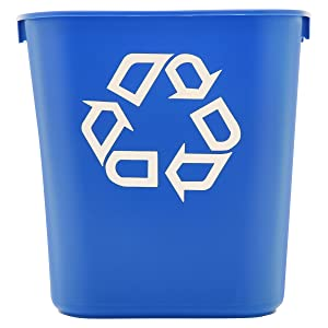 Rubbermaid Commercial Products Fg295573Blue Plastic Resin Deskside Recycling Can, 3.5 Gallon/13 Quart, Blue Recycling Symbol