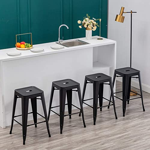 Cheap 30 inch Metal Barstools Set of 4 Indoor Outdoor Bar Stools Stackable Backless Kitchen Dining Counter Stools Matte Black outdoor bar stool for sale