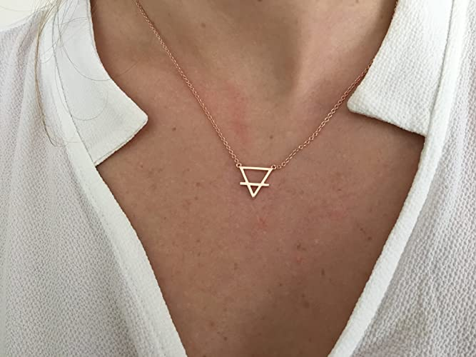 Amazon Triangle Alchemy Necklace Earth Element Necklace Silver