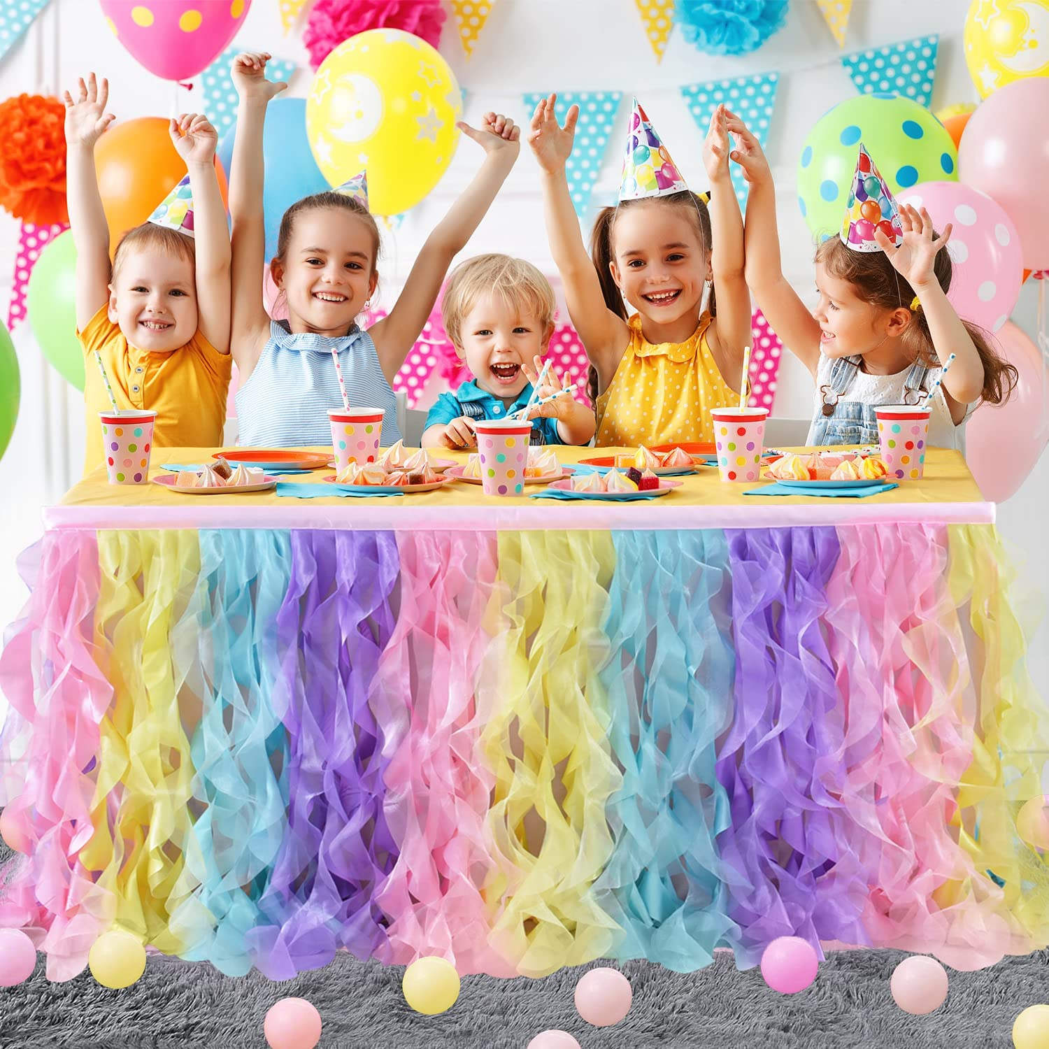 Rainbow Curly Willow Table Skirt for Baby Shower, Birthday Party,Gender Reveal, Baby Shark Fluffy Tutu Double Layer Table Cloth for Rectangle or Round Table(6ft)