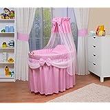 WALDIN Landau/berceau pour bébé avec équipement - 4 coloris disponibles,rose/blanc