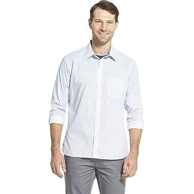 Van Heusen Men's Big and Tall Never Tuck Long Sleeve Button Down Print Shirt at Men's Clothing store