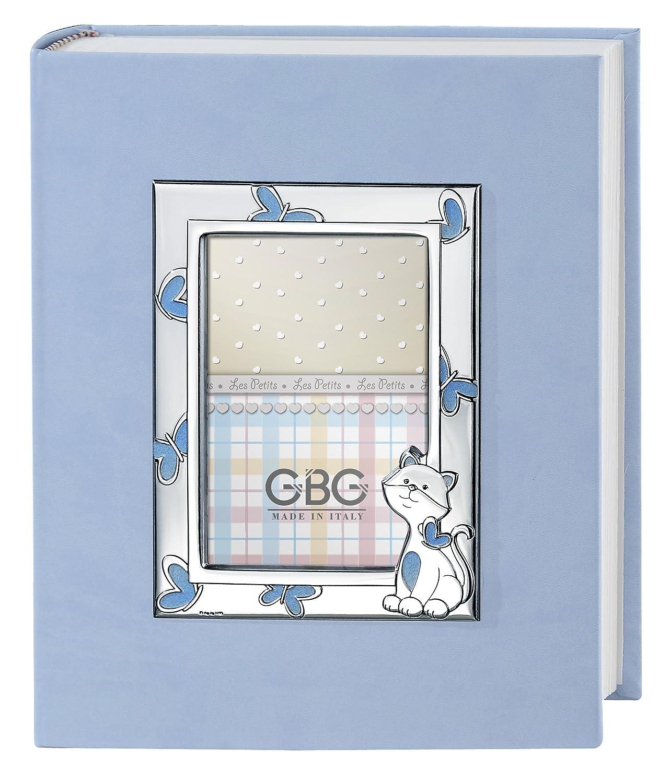 Fotoalbum und Tagebuch mit Rahmen cm 9 x 13 Kätzchen hellblau Album cm 20 x 25 Bi Laminat Silber Made in Italy frisch