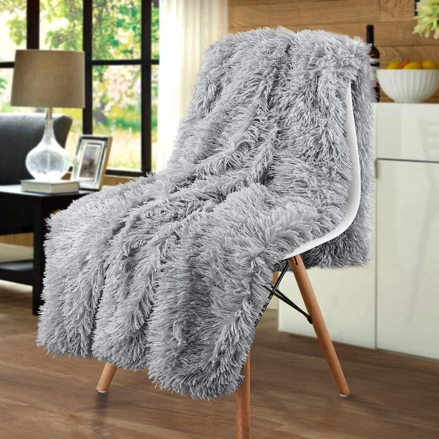 Merit Home Shag with Sherpa Reversible Warm Throw Blanket, Ultra Soft, Cozy Plush Luxury Fuzzy Longfur Blanket, Hypoallergenic and Washable Couch Bed Fluffy Furry Throws Photo Props, 50x60-Grey