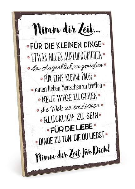 Typestoff Holzschild Mit Spruch Nimm Dir Zeit Im Vintage Look