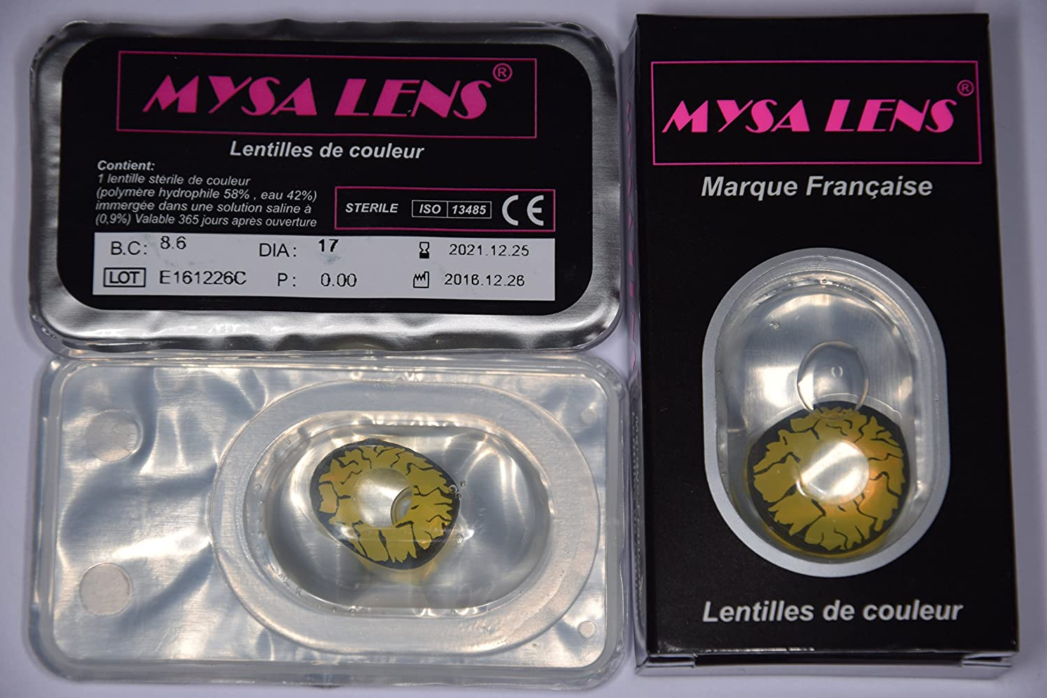 MYSA LENS® Mini Sclera 17MM Lentilles De Contact De Couleur Yellow Goblin    Yellow Rage   Demon Jaune , Ideal Pour Le Carnaval Et Halloween + Avizor ... 274a556b8e51