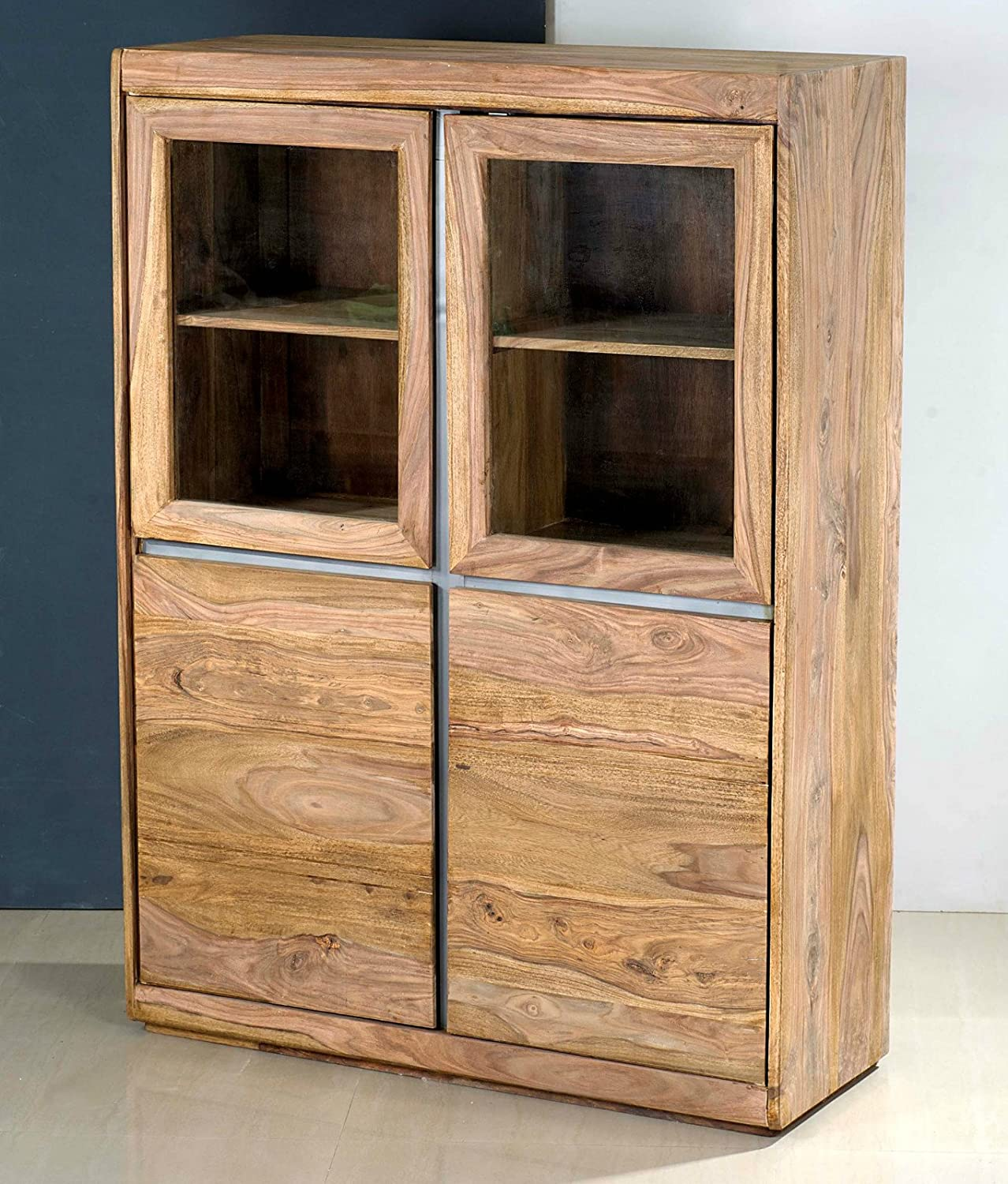 Vitrine Schrank Highboard 'Indian Spirit' Sheesham massiv Holz gebeizt
