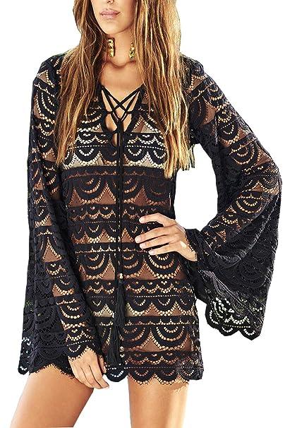 70f77a7f5ec Walant Womens Lace Crochet Sexy Swimsuit Cover Up Bikini Bathing Suit Beach  Dress Black