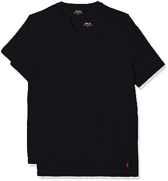 e20bd1c7c3713b Polo Ralph Lauren 2er Pack Herren T-Shirts Rundhals Shirt Halbarm - Schwarz   Amazon.de  Bekleidung