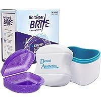 Retainer Brite, Cleaner Bath & Case ~ Cleaning Tablets, Glitter or Plain Box (Blue Bath, Glitter Purple Case)