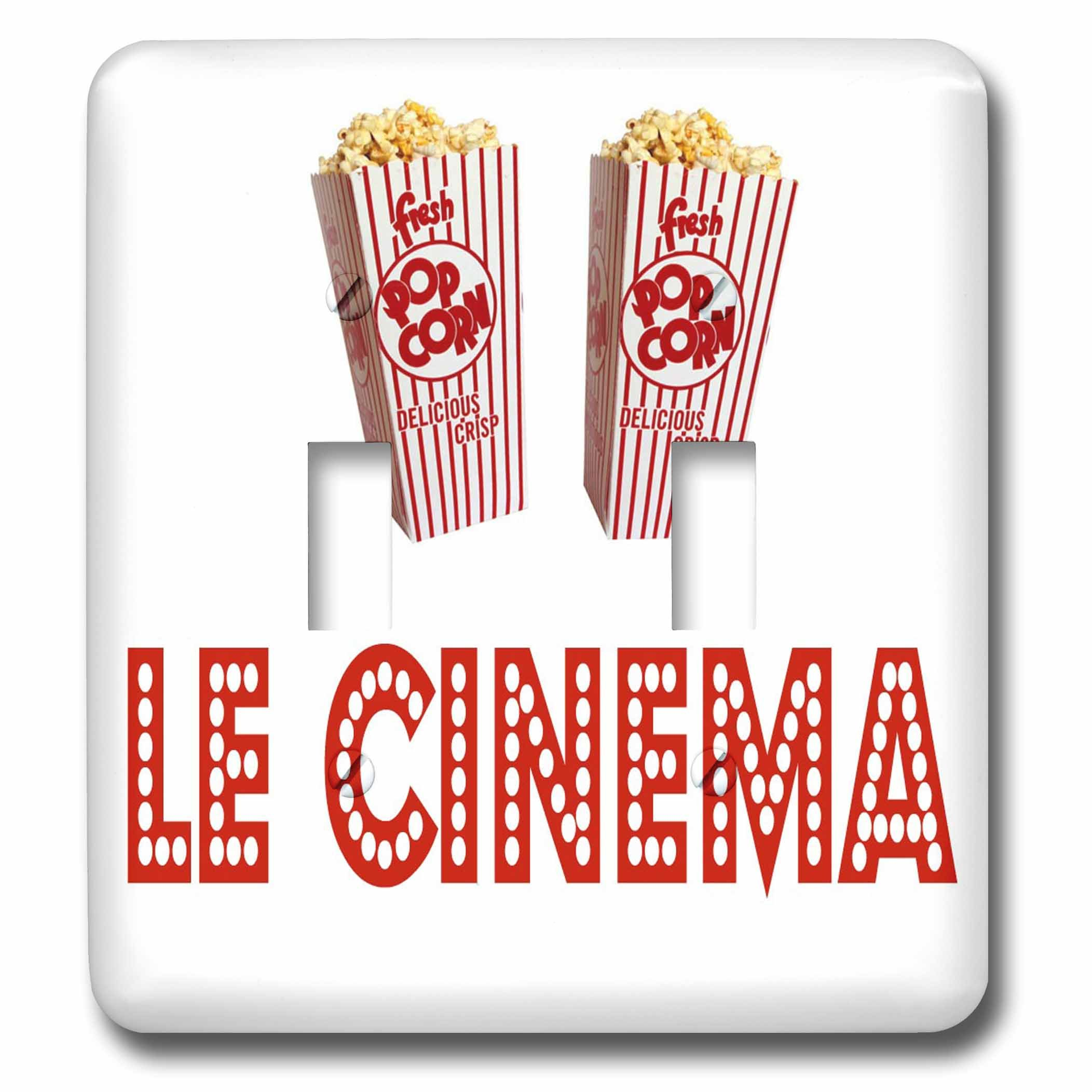 3dRose RinaPiro Movie Sayings - Le Cinema. Popcorn. - Light Switch Covers - double toggle switch (lsp_273568_2)