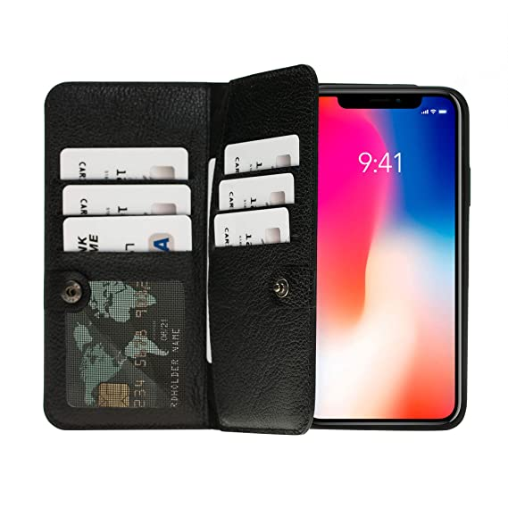 new style 54172 c61c2 iPhone Xs Max Case by Burkley, Bi-Fold Detachable Leather Wallet Case for  Apple iPhone Xs MAX, Magnetic Closure and Snap-on | Book Style Cover with  10 ...