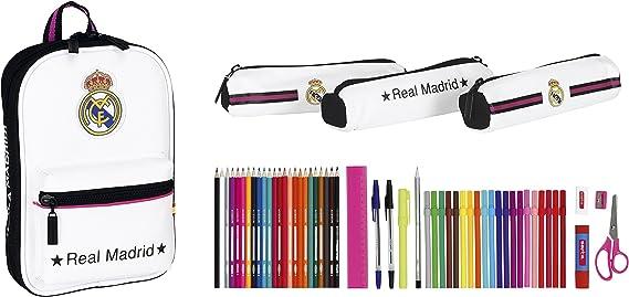 Safta 411457747 Real Madrid-Plumier mochila con 3 estuche portatodos llenos, color r multicolor, 23 cm: Amazon.es: Juguetes y juegos