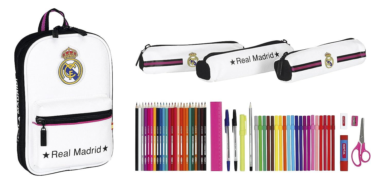Real Madrid - Plumier Mochila con 3 Estuche portatodos llenos (Safta 411457747)