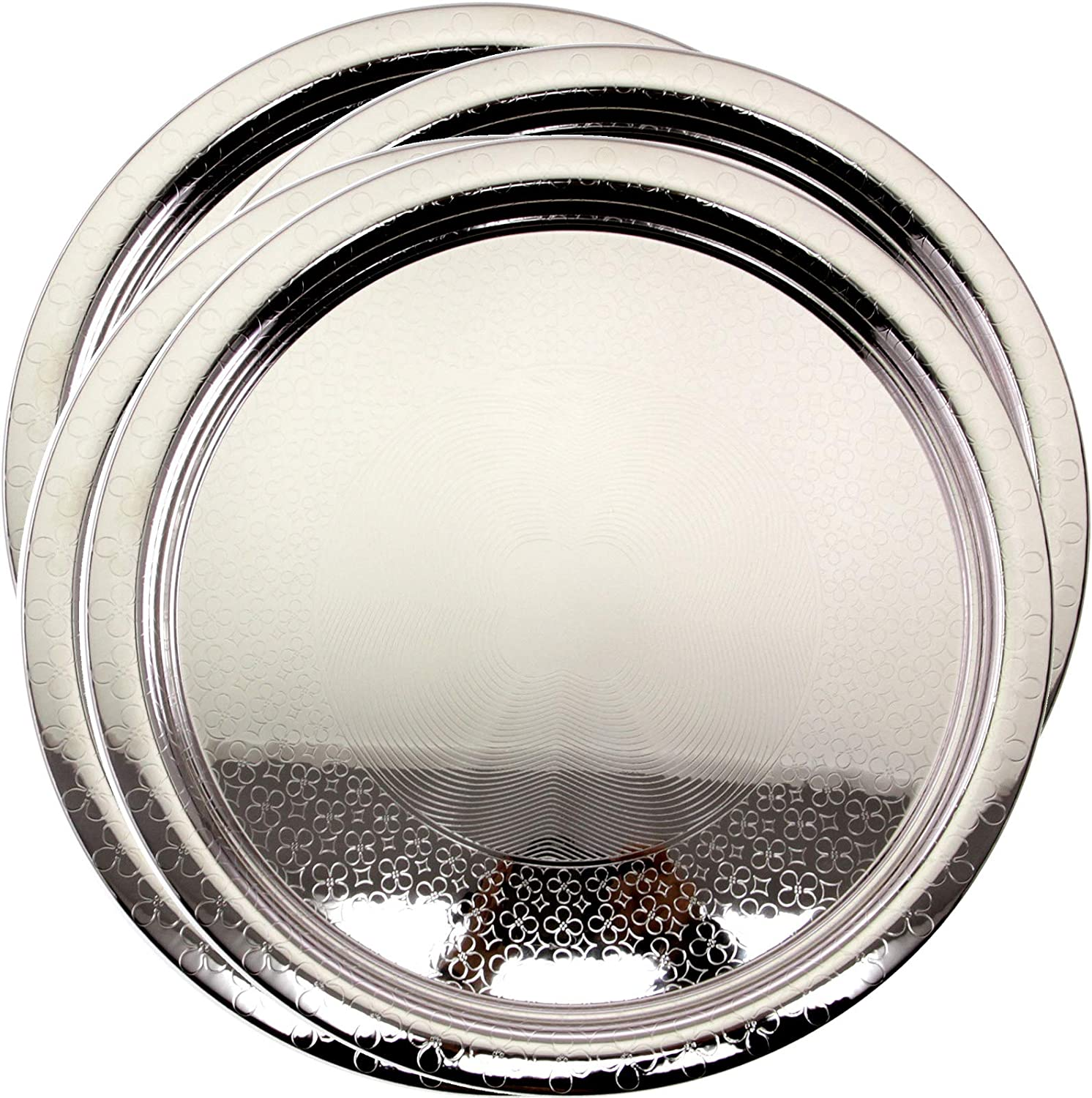Maro Megastore (Pack of 4 16.3 Inch Round Chrome Plated Serving Tray Stylish Design Floral Victoria Design Engraved Decorative Party Birthday Wedding Dessert Buffet Wine Decor Platter Plate TLA-490