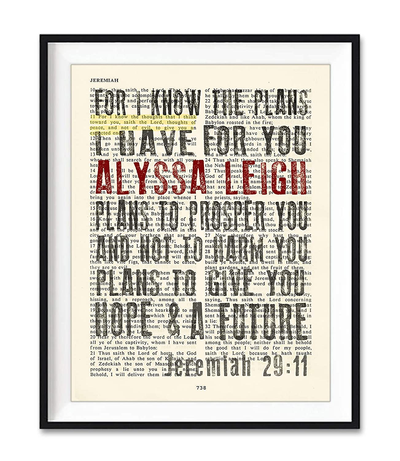Custom Vintage Bible Page Personalized Verse Scripture, For I Know the Plans, Jeremiah 29:11 Christian Art Print, Unframed, Christian Wall and Home Decor Poster, All Sizes