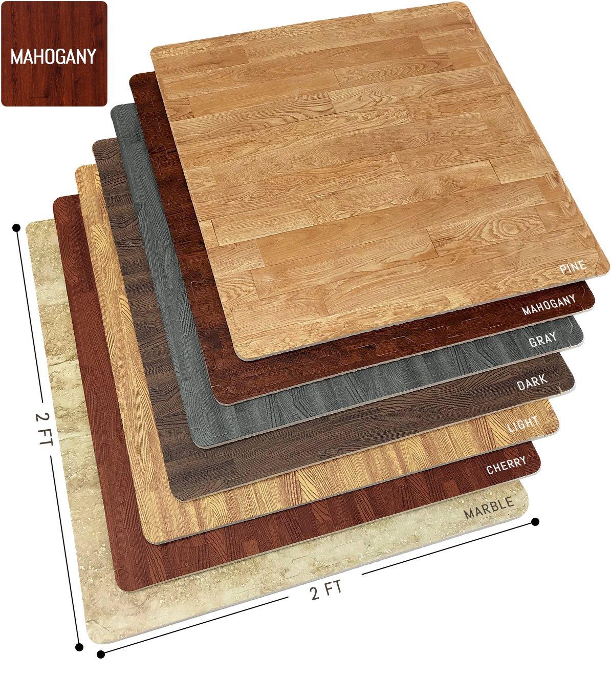 Sorbus Wood Grain Floor Mats Foam Interlocking Mats Tile 3/8-Inch Thick Flooring Wood Mat Tiles Borders - Home Office Playroom Basement Trade Show (12 Tiles, 48 Sq ft, Mahogany) by Sorbus