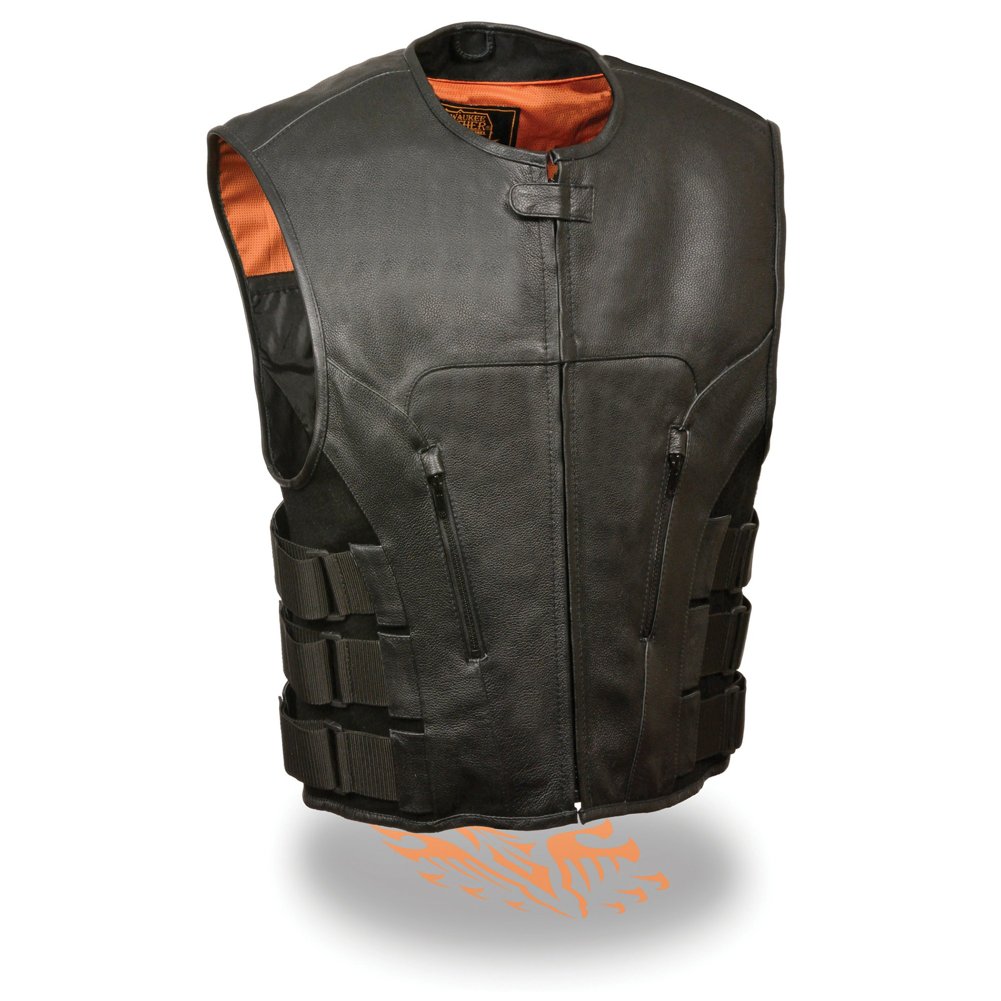 Milwaukee Leather Men's Bullet Proof Look Swat Motorcycle Club Vest w/Single Panel Back & Dual Inside Gun Pockets (Large.) by Milwaukee Leather