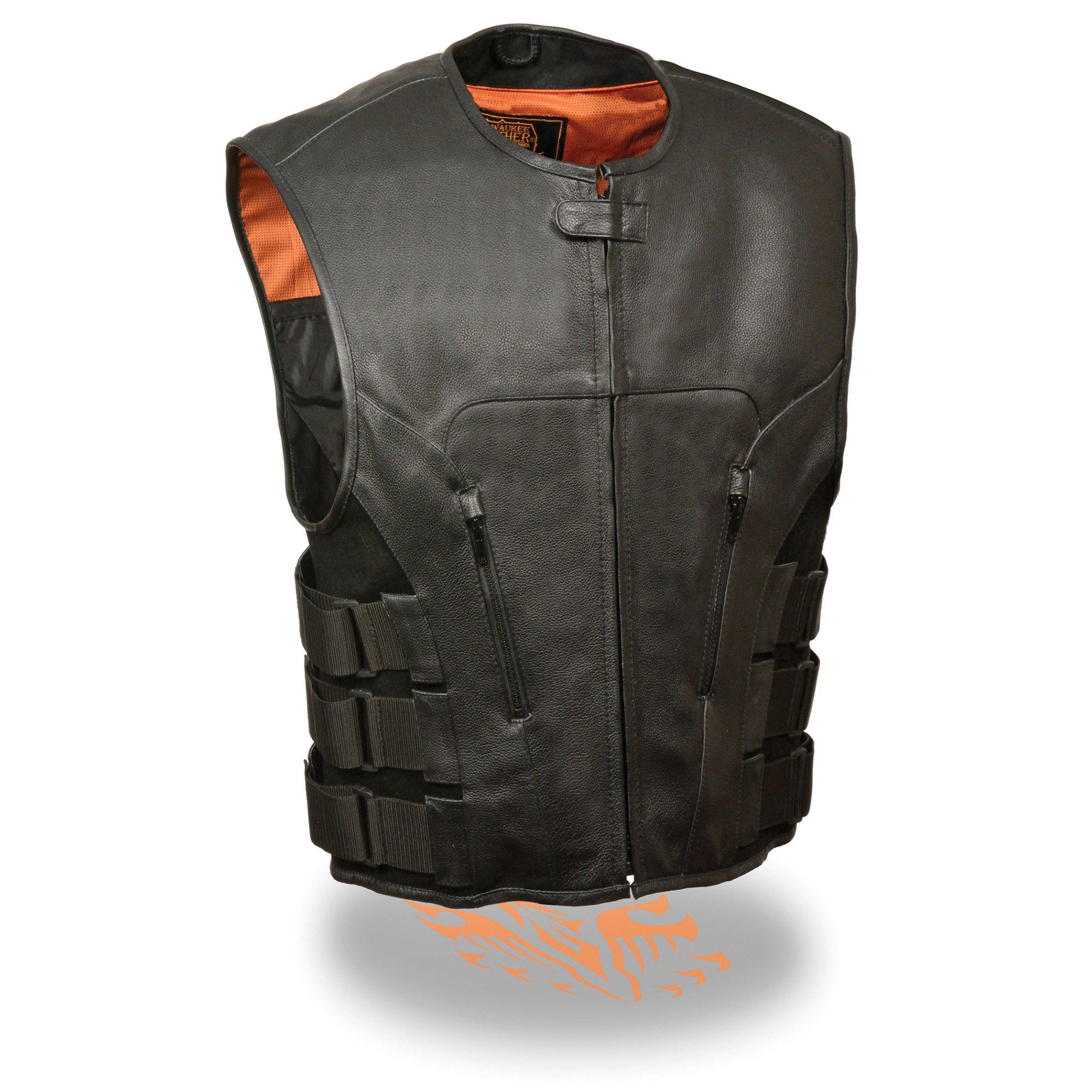 Milwaukee Leather Men's Bullet Proof Look Swat Motorcycle Club Vest w/Single Panel Back & Dual Inside Gun Pockets (Large.)