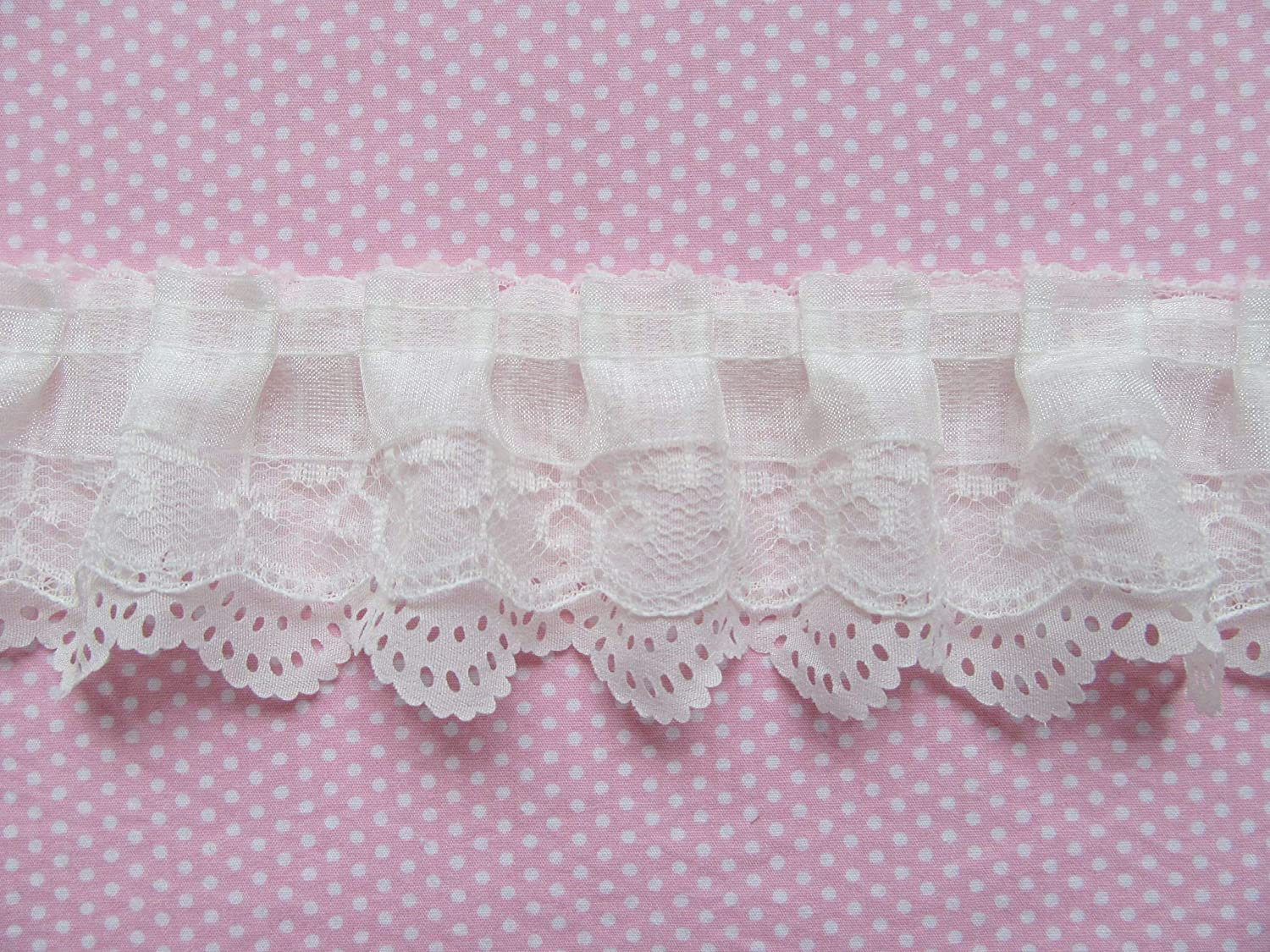 20 Yards Layers Pleated Ruffles Trim Lace Edging Fabric Frill DIY Craft New NR9
