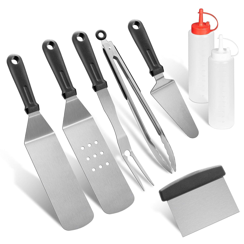 grilljoy 8pcs Restaurant Grade Griddle Spatula Scraper Set – Extra Thick Flat Top Griddle Kit with Heat-Resistant Grip. Dishwasher Safe.
