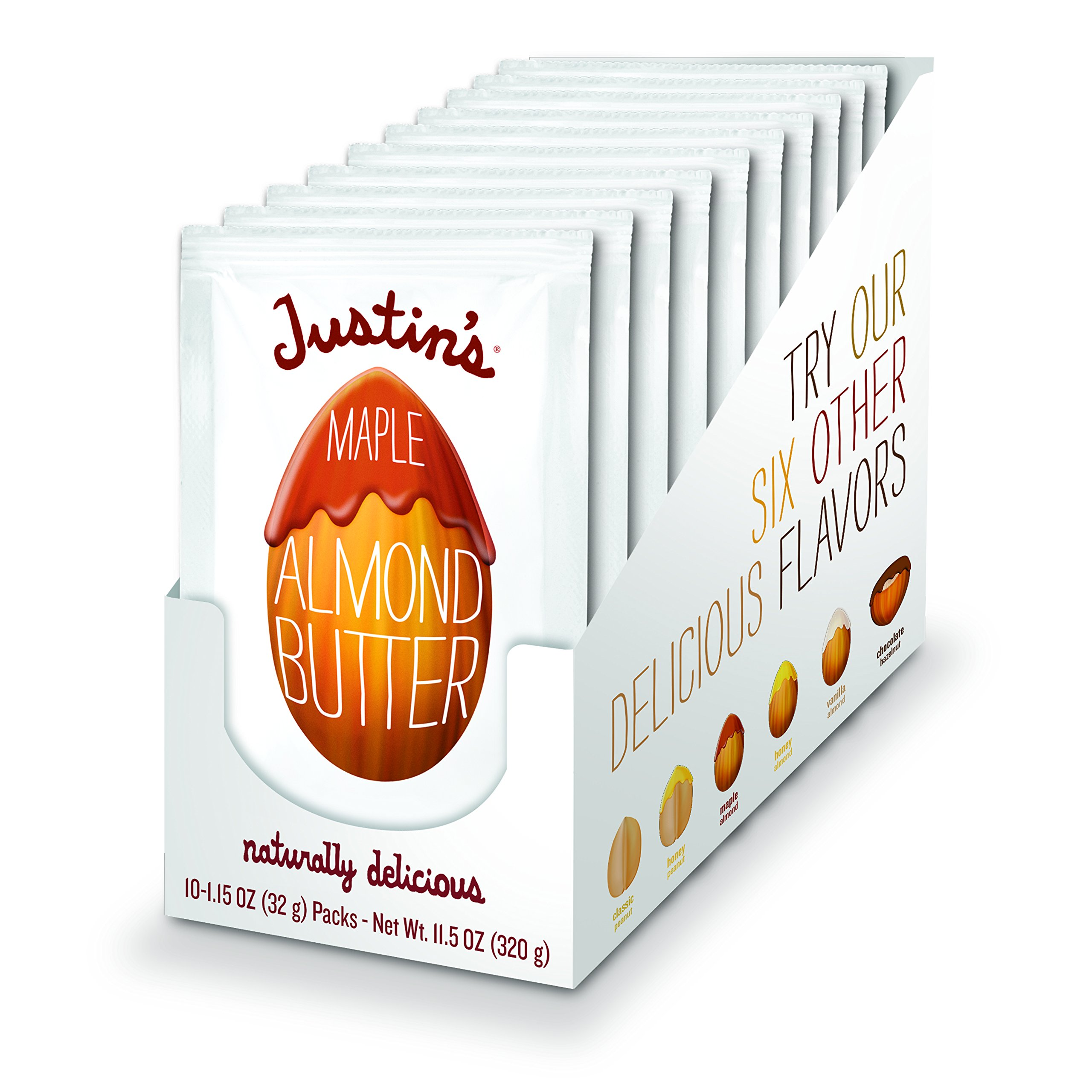 Maple Almond Butter Squeeze Packs by Justin's, Gluten-free, Non-GMO, Vegan, Responsibly Sourced, Pack of 10 (1.15oz each)