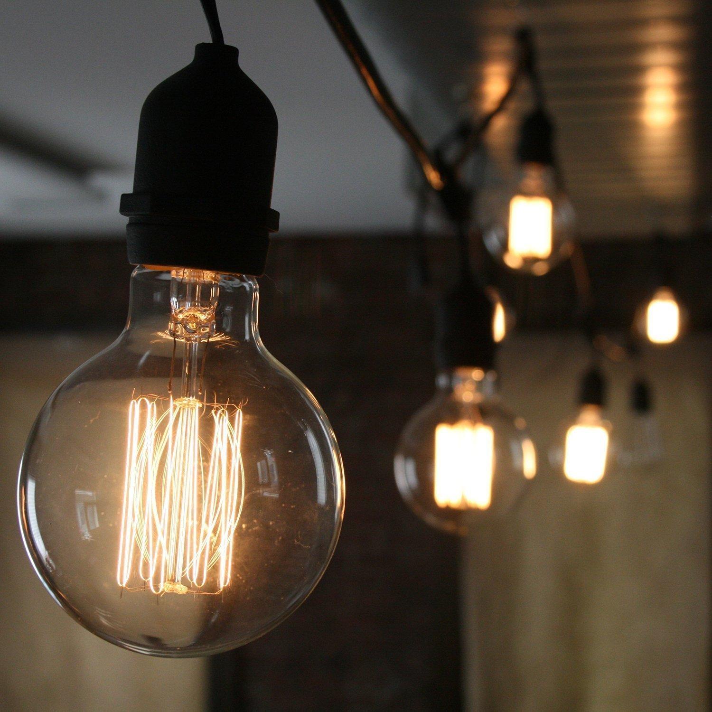 KJLARS Vintage Edison Glühbirne Glühlampe E27 60W G125 gerader Draht ...