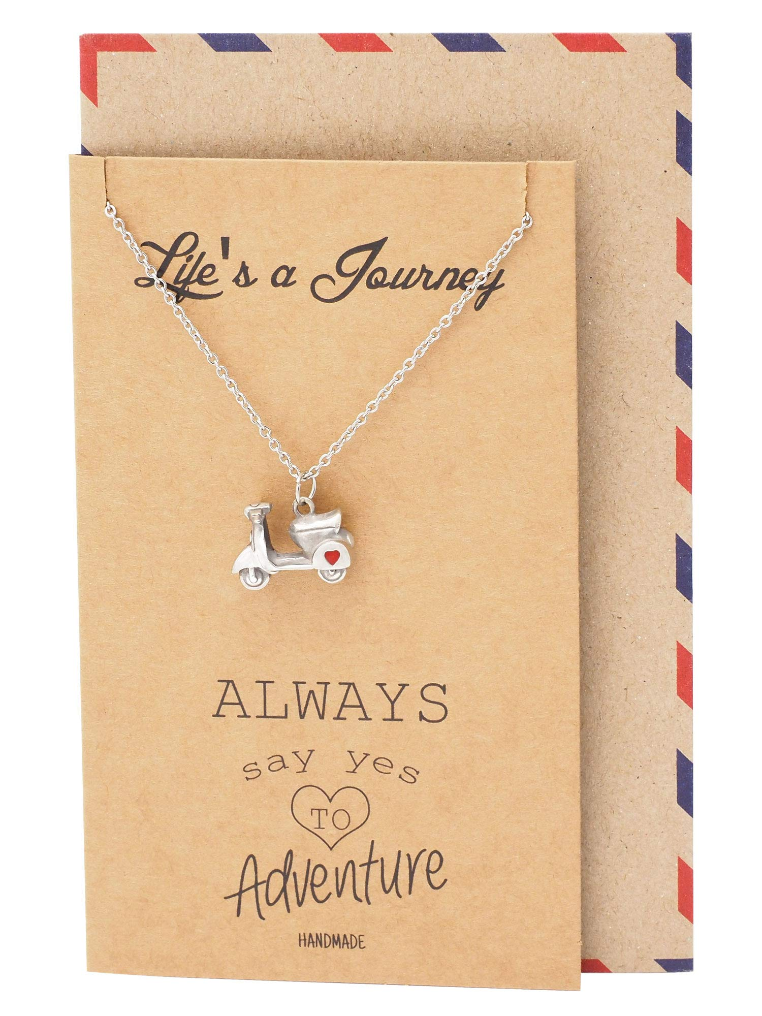 Quan Jewelry Graduation Gifts for Her Journey Necklace, Scooter Pendant Best Travel Gifts for Women with Inspirational Quote Card by Quan Jewelry