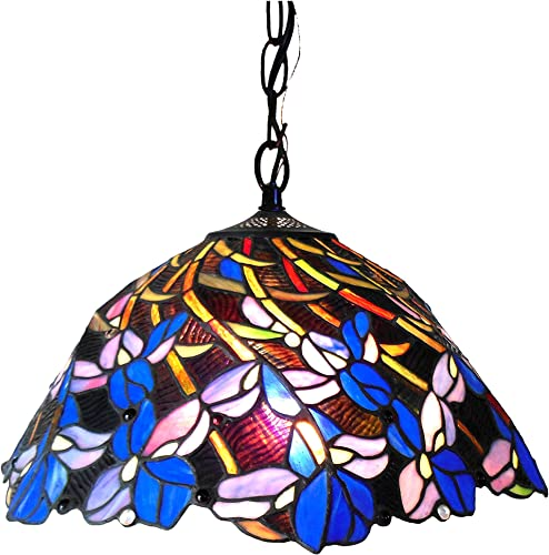 Chloe CH18052BF19-DH2 Natalie Tiffany-Style Iris Hanging Pendant Lamp with 19 Shade, 9 x 19 x 19, Bronze