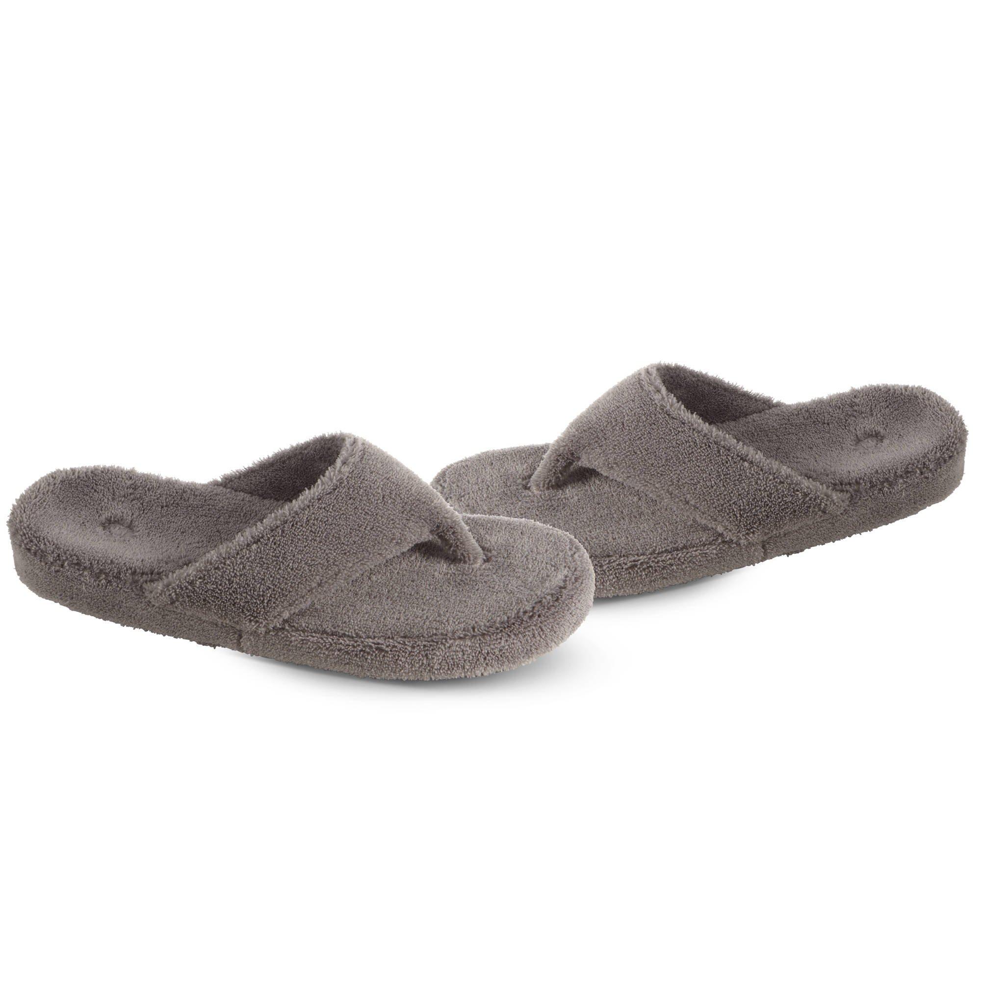 Acorn Women's Spa Thong Slippers Grey XL Wide