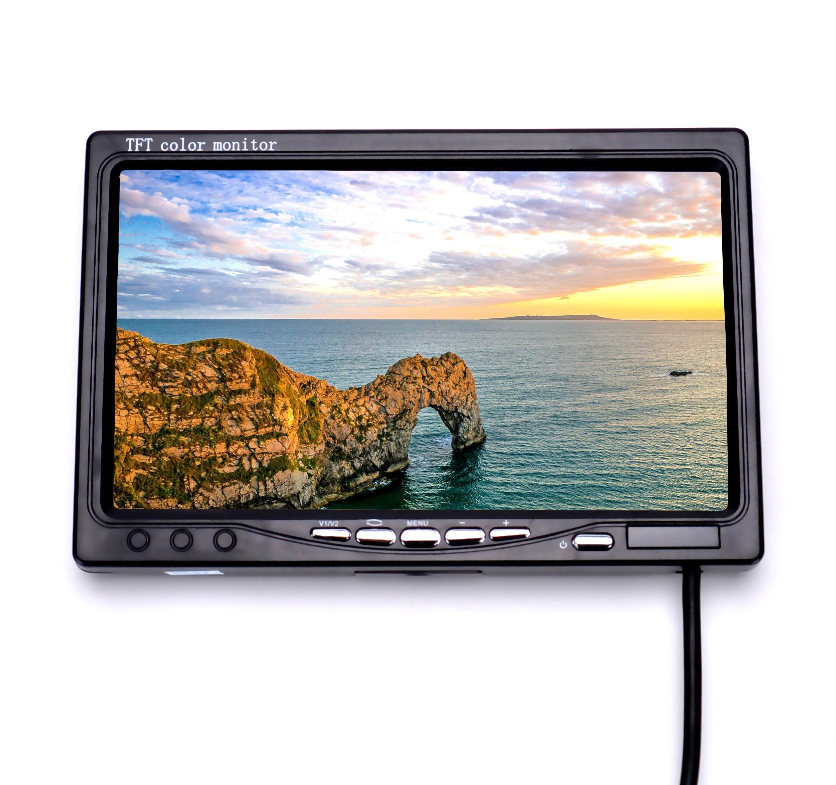 RC FPV Monitor 7 Inch 1024x600 LCD Display Video Screen HD Monitor NO Blue Screen with Hood Sun Shield and XT60 to Deans Connector