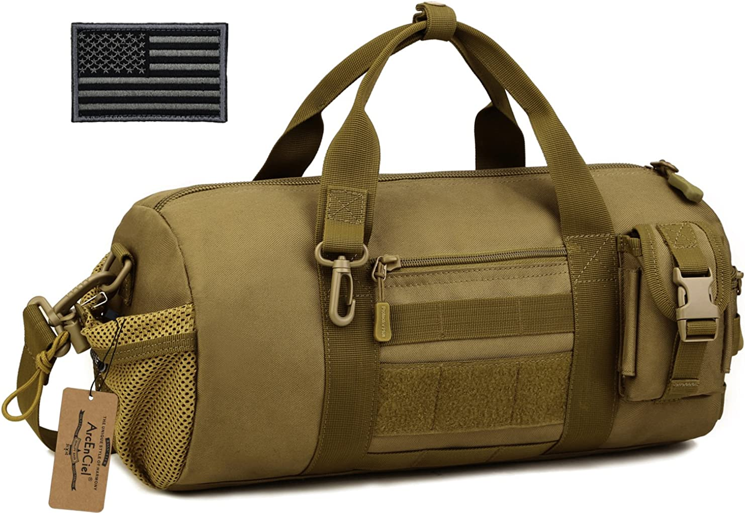 ArcEnCiel Tactical Duffle Bag Men Gym Pack Military Molle Shoulder Bags Shoes Storage Sports Handbag with Patch