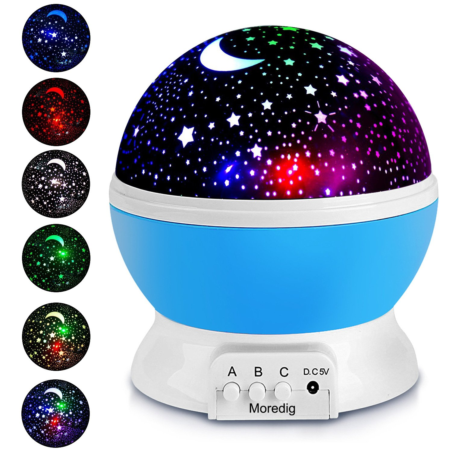 Projection Light Night Lighting Lamp Star Projector lamp with 8 Multicolor 360°Rotation with 6.5ft USB Cable,Best Lamp for Man Woman Children Kids Bedroom Blue