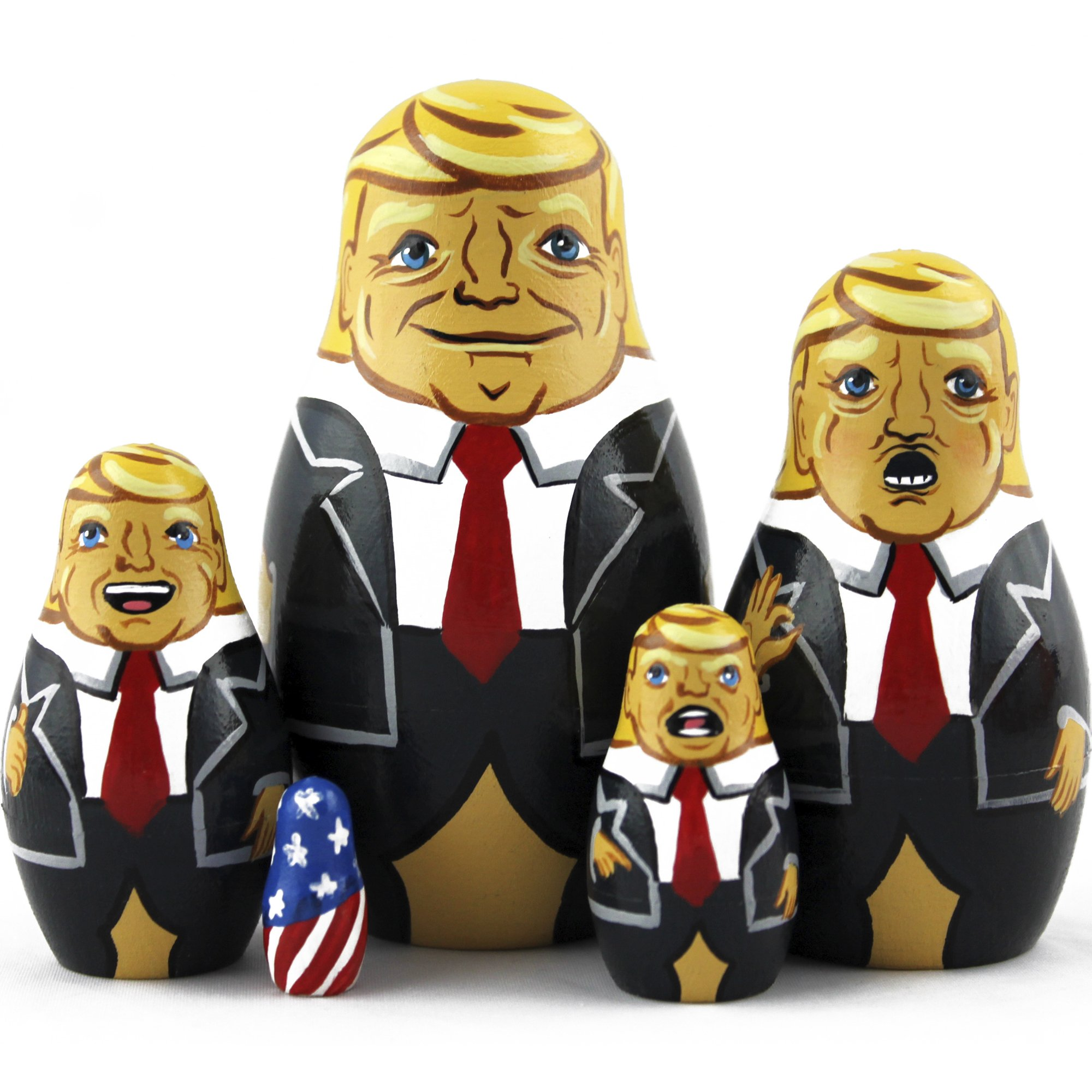 Donald Trump Gifts - Donald Trump Funny Toy Doll - Trump Nesting Dolls Gag Gifts - Set 5 pc 3.7 inches by MATRYOSHKA&HANDICRAFT