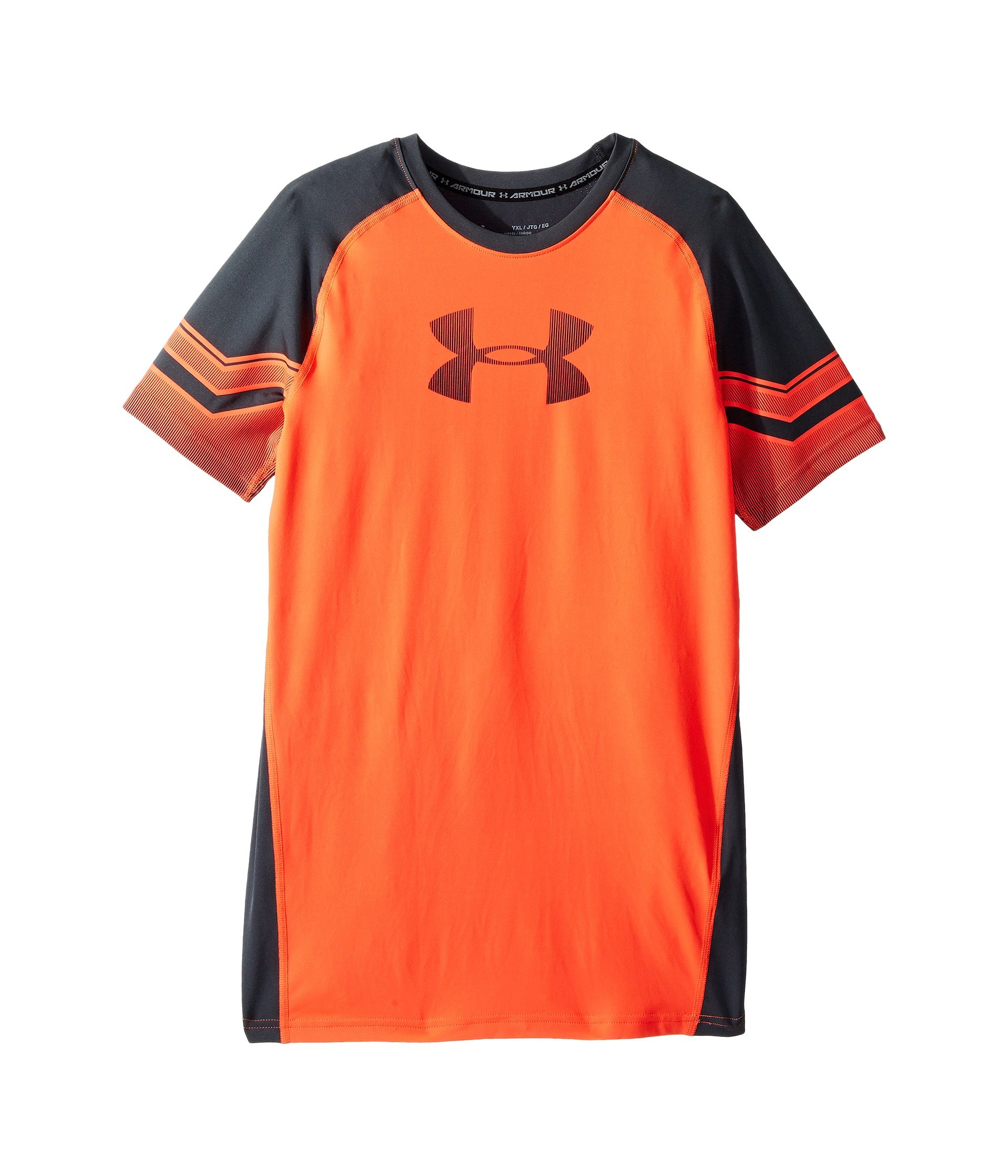 Under Armour Kids Boy's Armour Graphic Short Sleeve (Big Kids) Neon Coral/Stealth Gray/Neon Coral Small