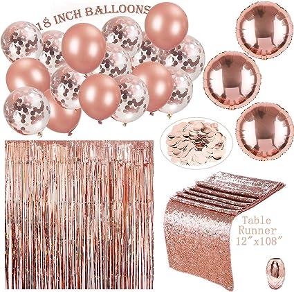 Amazon.com: 122 piezas de adornos de oro rosa para fiestas y ...
