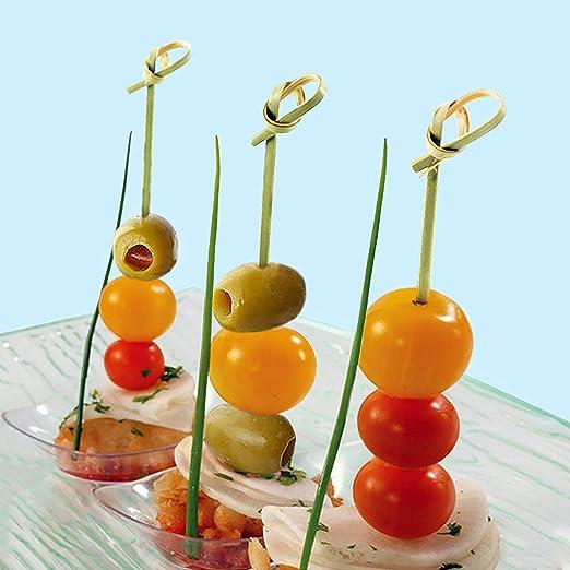 Decoration Kitchen /& Bar Bamboo Knot Skewers Fruit Forks Stick Cocktail Picks