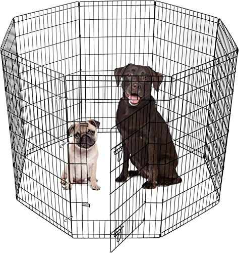 SmithBuilt Crates Dog Playpen Folding Yard with Door and Carry Bag 8 Panel Metal Wire Popup Portable Fence, 48 Inch High – Black