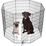 SmithBuilt Tall Puppy Dog Playpen - Portable Indoor Outdoor Pet Exercise Play Yard Pen Run with Carrying Bag - Black - Various Sizes
