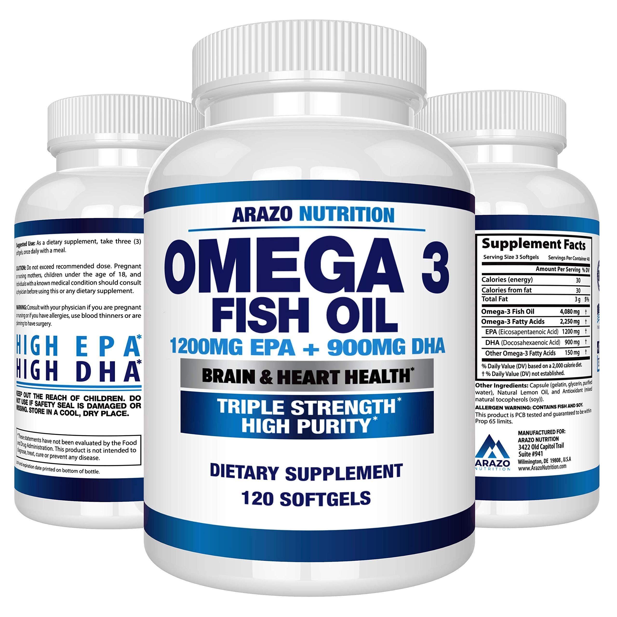 Omega 3 Fish Oil 2250mg - High EPA 1200MG + DHA 900MG Triple Strength Burpless Capsules - Arazo Nutrition (120 Count) by Arazo Nutrition