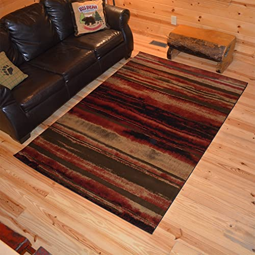 Rustic Lodge Layered Earth 8×10 Brown Area Rug, 7 10 x9 10 6930