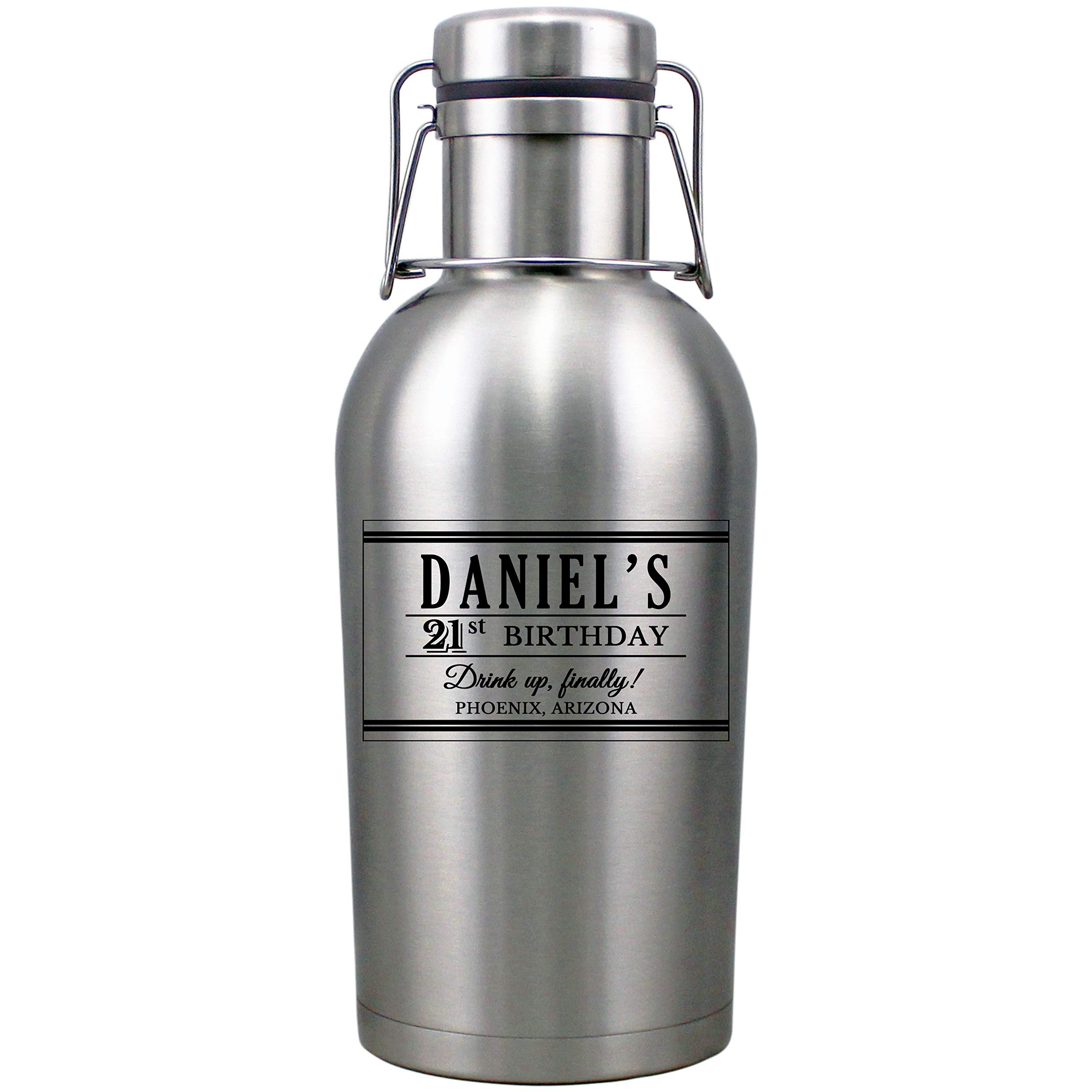 Personalized Etched 64oz Insulated Stainless Steel Growler for Birthday Gifts