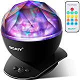 [Upgraded Version] SOAIY Soothing Aurora LED Night Light Projector with Timer, Remote, Music Speaker, 8 Lighting Modes, Relaxing Light Show, Mood Lamp for Baby Kids and Adults, Living Room and Bedro