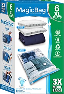 Smart Design MagicBag Instant Space Saver Storage - Flat Extra Large - Airtight Double Zipper - for Clothing, Pillows, More - Home Organization - (6 Bags)