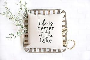 43LenaJon Life is Better at The Lake Pillow, Lake Decor, Lake House Decor, Housewarming, Lake House, New House, Closing Gift, Vacation, Pillow Cover