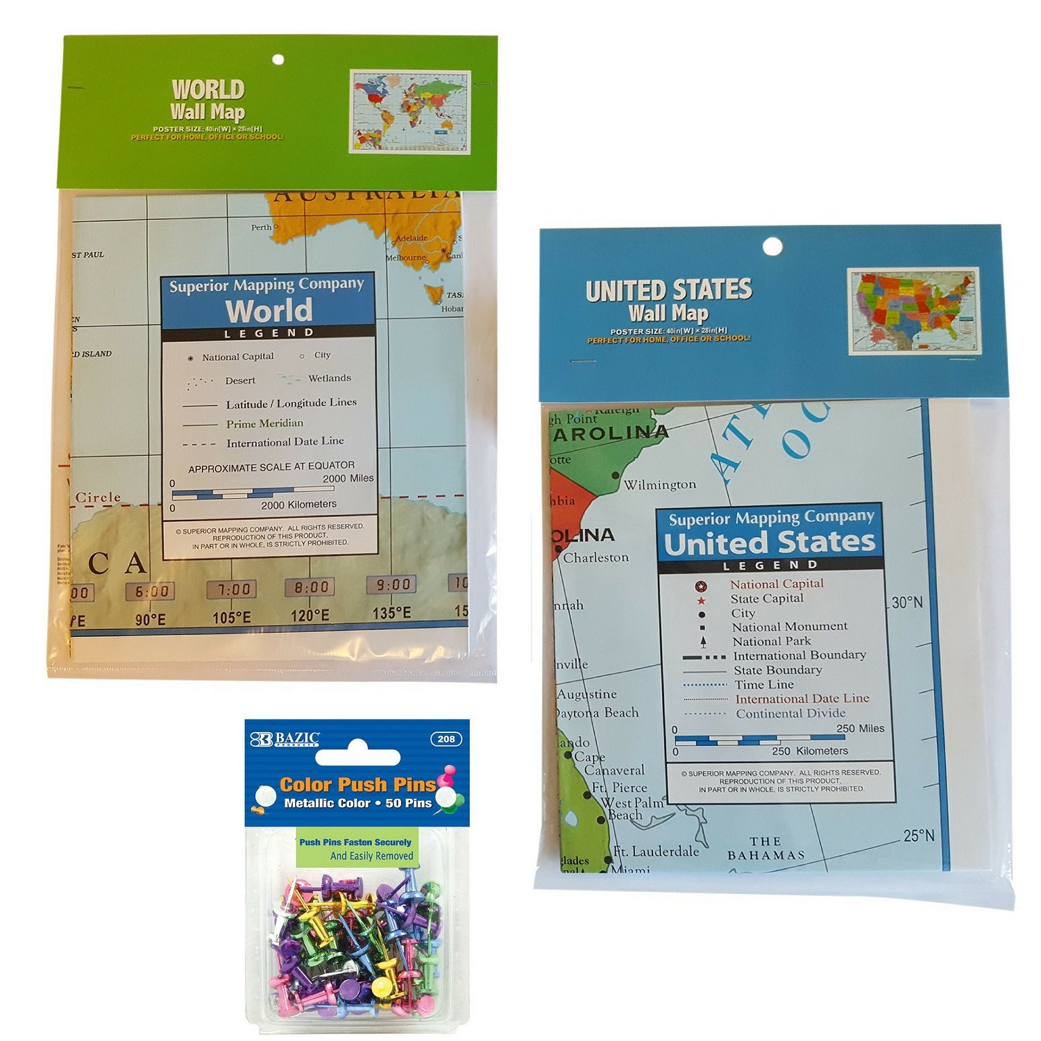 Wall Map Bundle: (1) World Wall Map | (1) United States Wall Map | 1 package of 50 Color Push Pins